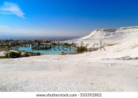 View of travertine pools and terraces in Pamukkale, Turkey.