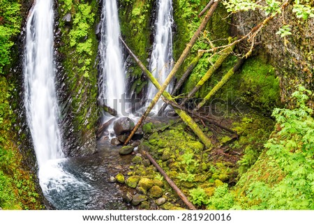View of Triple Falls in the Columbia River Gorge in Oregon - stock photo