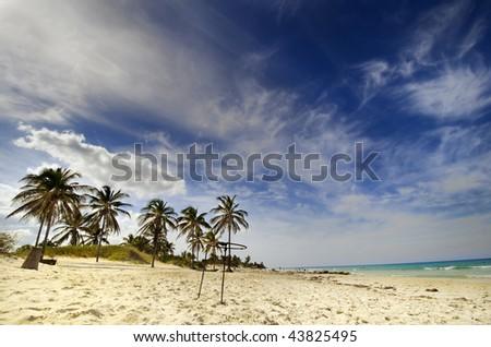 View of tropical beach at Santa Maria del Mar, cuba - stock photo