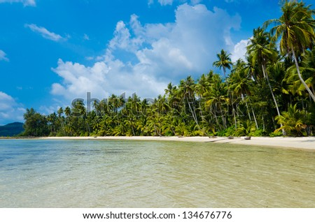 View of tropical beach with transparent water on foreground - stock photo