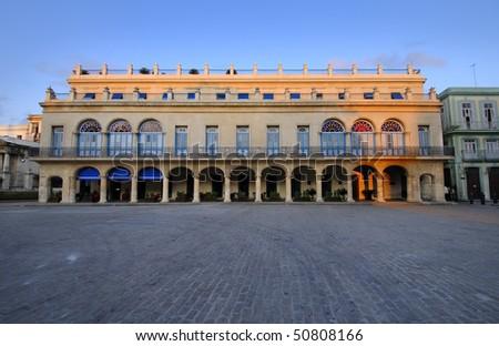 View of tropical building facade in havana plaza - stock photo