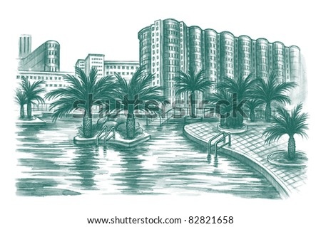 view of tropical resort with palms - stock photo