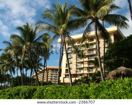 View of tropical resorts in palm tree tropical setting - stock photo