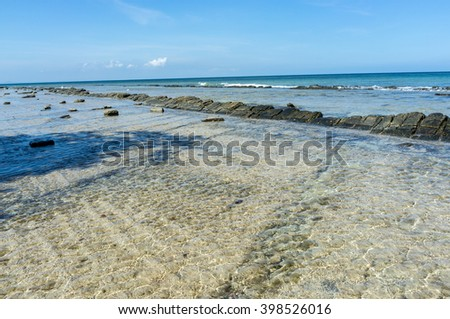 View Of Tropical Seascape With Blue Sky Clouds At Rusukan Island,Labuan,Malaysia.