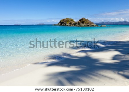 view of trunk bay with shadow of palm tree on beach - stock photo