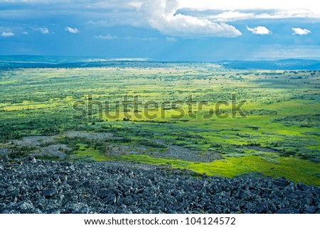 View of tundra in the Kvarkush plateau. Perm Krai. Russia. - stock photo