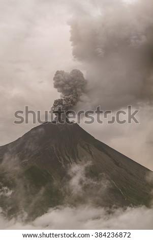 View Of Tungurahua Volcano Powerful Explosion At Sunset, February 2016, South America - stock photo