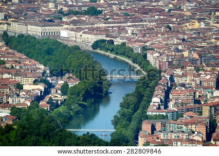 View of Turin crossed by the river Po - Piedmont - North Italy - stock photo