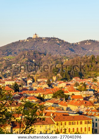 View of Turin in the evening - Italy - stock photo