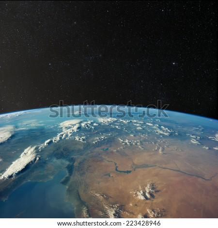 View of Turkey and Syria from space with stars above.  Elements of this image furnished by NASA.  - stock photo