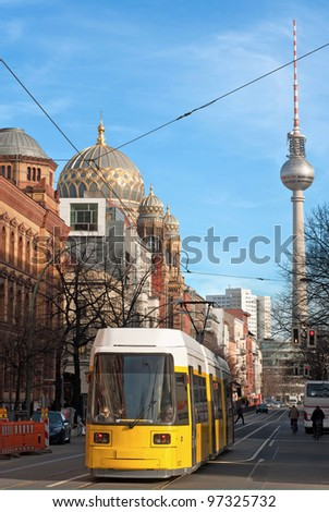 View of Tv Tower of Berlin throught a street - Germany - stock photo