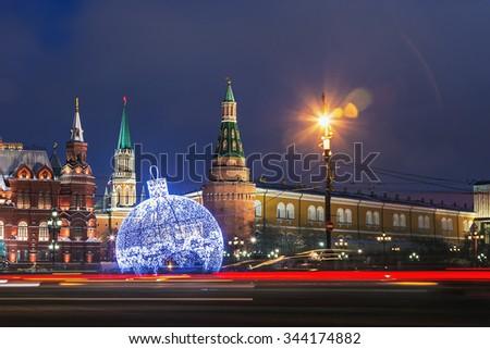 view of Tverskaya street from Manezhnaya square in winter Christmas evening - stock photo