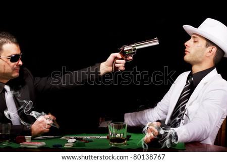 View of two gangster males having a serious discussion. - stock photo