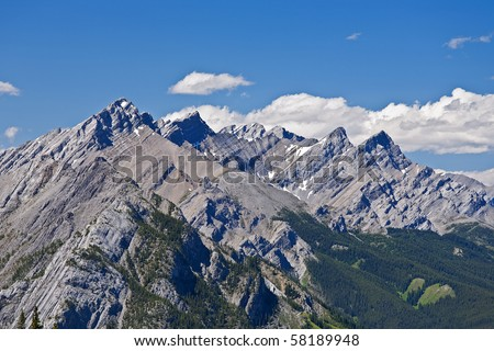 View of two of the Canadian Rocky Mountains in Alberta - stock photo