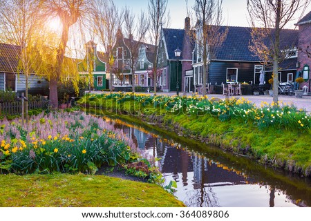 View of typical Dutch village Zaanstad. Colorful spring scene in Netherlands, country of tulips, windmill and thousands channels.