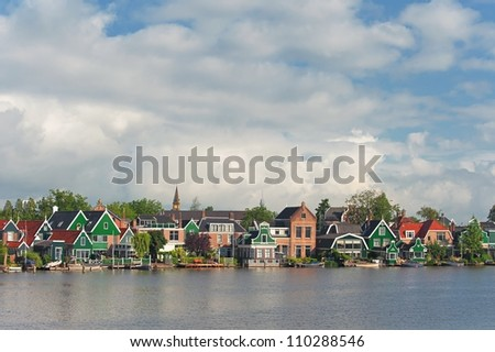 View of typical houses in Zaandijk, the Netherlands - stock photo