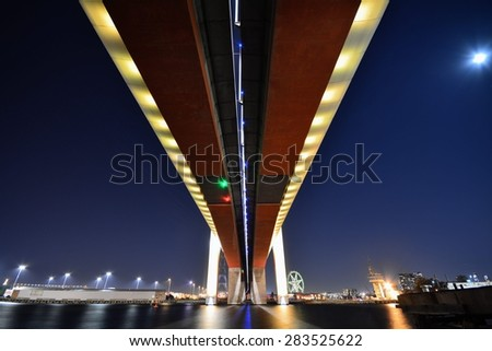 View of under the BOLTE Bridge crossing the Yarra River at night - stock photo