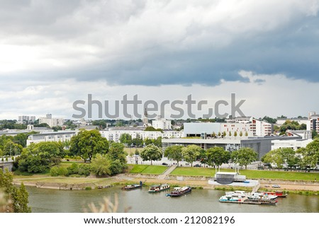 view of urban port on La Maine river in Angers city, France - stock photo