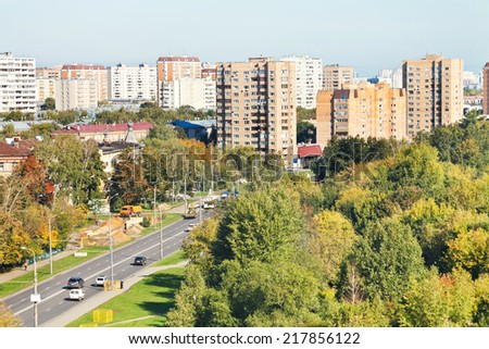 view of urban street in sunny autumn day, Moscow - stock photo