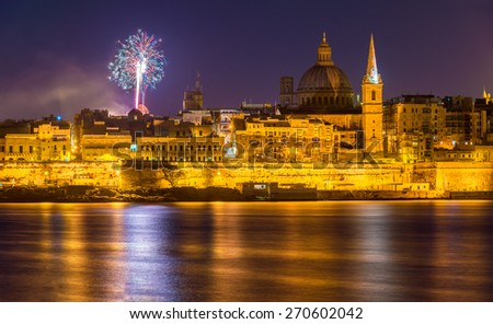 View of Valletta with fireworks on Easter 2015 - Malta - stock photo