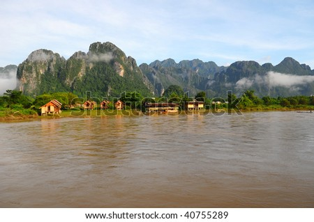 VIEW OF VANG VIENG - stock photo
