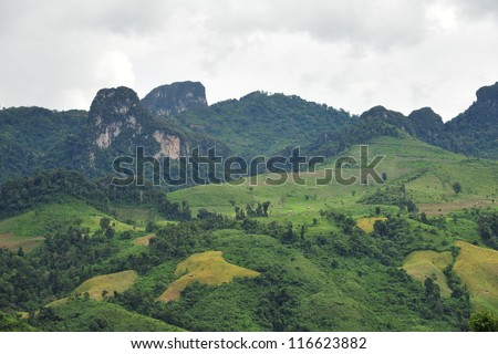 View of Vang Vieng, Laos. - stock photo