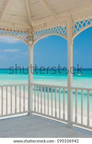 View of Varadero beach in Cuba from a beautiful wooden terrace - stock photo