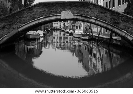 view of Venice, Italy, in back and white - stock photo