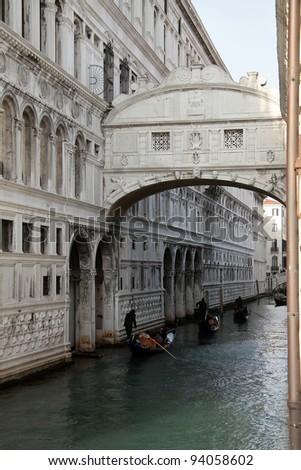 View of Venice the Sospiri bridge - stock photo