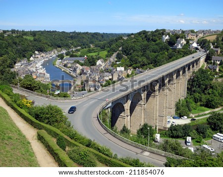 View of viaduct and river in Dinan, Brittany, France - stock photo