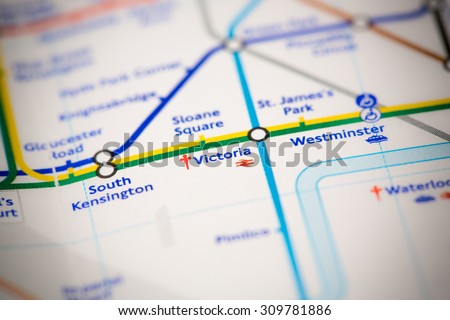 View of Victoria station on a London subway map. - stock photo