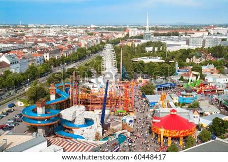 View of Vienna's Prater on Roller coaster and water toboggan in Vienna , Austria - stock photo