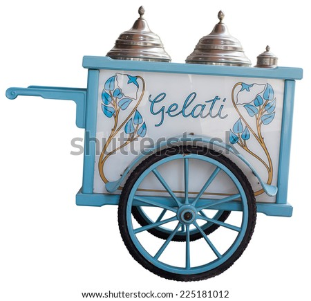 View of vintage ice cream cart isolated on white background