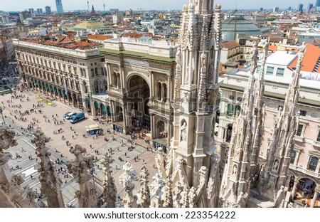 view of Vittorio Emanuele II Gallery and piazza del Duomo from the roof of Duomo in Milan, Italy - stock photo