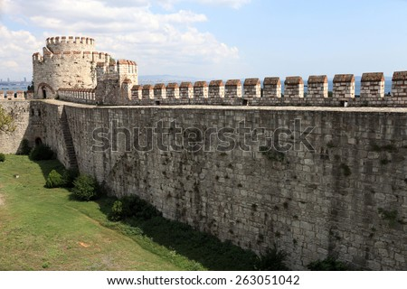 View of wall of Yedikule Fortress in Istanbul - stock photo