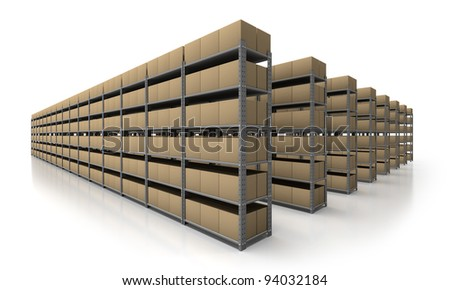 View of warehouse with many racks and boxes - stock photo