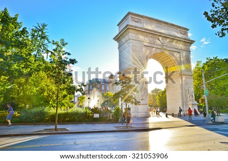 View of Washington Square Park in New York City - stock photo