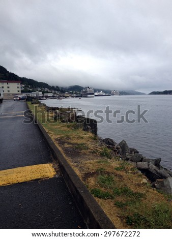 View of waterfront in Ketchikan Alaska. - stock photo