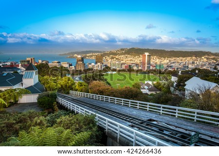 View of Wellington City from Cable Car Station in New Zealand with HDR tone tuned - stock photo