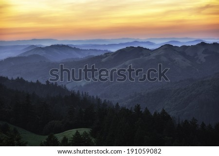 View of west Marin County hills during sunset - stock photo