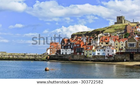 View of Whitby harbour in Whitby, North Yorkshire, England - stock photo