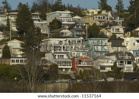 View of White Rock residential neighborhood on Marine Drive - stock photo