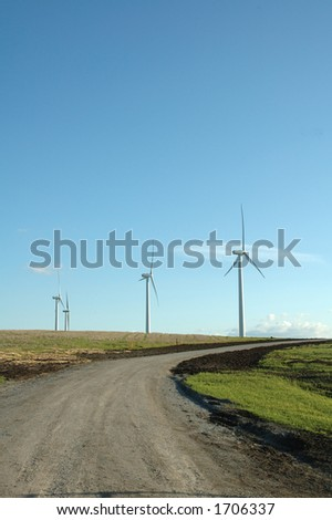 View of Wind powered electrical generator in Northern California