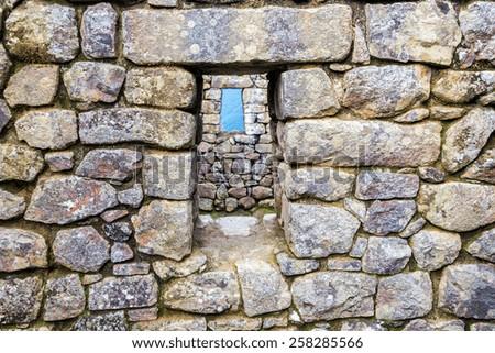 View of windows and stonework at Machu Picchu, Peru - stock photo
