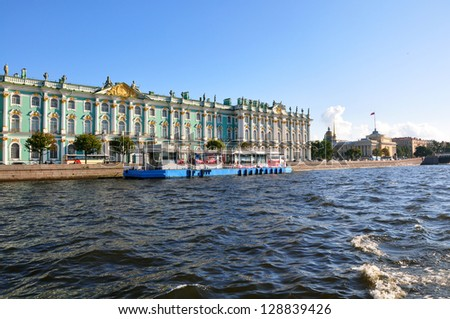 View of  Winter Palace from Neva river. St.Petersburg, Russia - stock photo