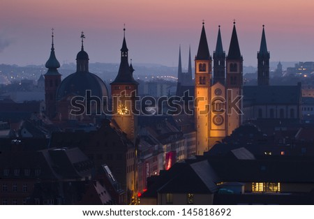 View of Wurzburg (Franconia, Germany) before sunrise - stock photo