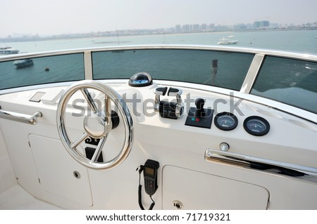 View of yacht cockpit on the deck.