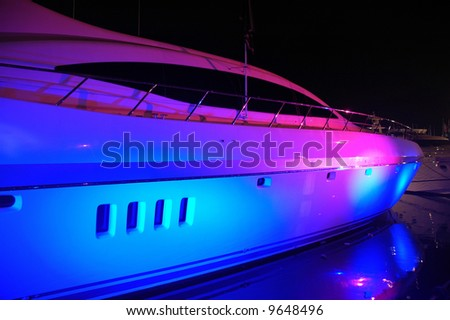 View of Yacht Lit up for Party in South Beach Florida