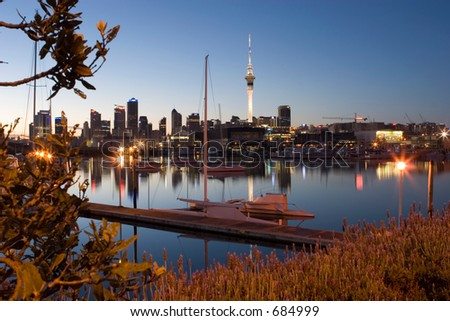 View of yacht's and apartment buildings in the Lighter Basin area of Auckland - stock photo