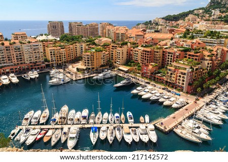 View of  yachts and apartments in harbor of Monaco - stock photo
